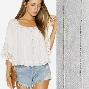 FREE PEOPLE See Saw Top STRIPED Peasant Blouse M
